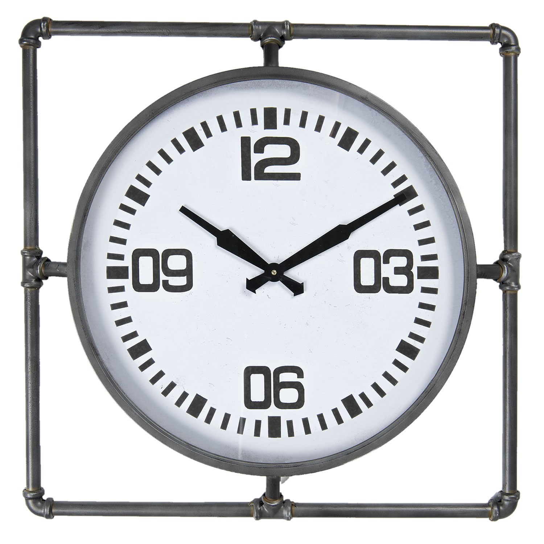 Velké nástěnné hodiny v kovovém rámu - 63*5*63 cm / 1*AA