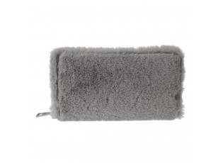 Šedá chlupatá peněženka - 19*10 cm