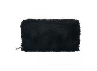 Černá chlupatá peněženka - 19*10 cm