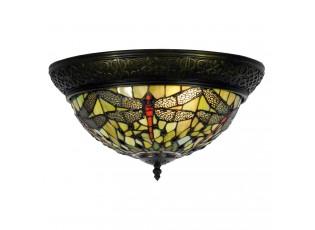Stropní světlo Tiffany Dragonfly Green - Ø 38*19 cm 2x E14 / Max 40W