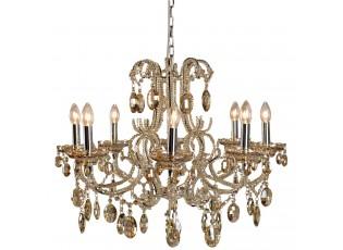 Zlatavý křišťálový závěsný lustr