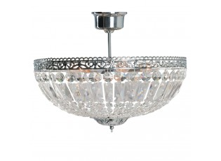 Stříbrno kovový křišťálový stropní lustr Dustin