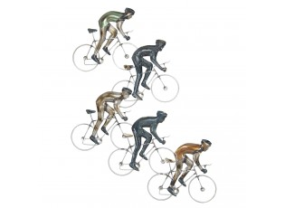 Nástěnná kovová dekorace Cyklisti - 81*60*2 cm