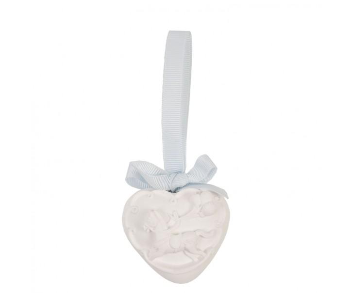 Dekorace bílé srdíčko s koníkem - 5*5 cm