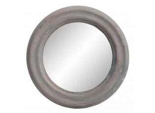Kulaté zrcadlo v dřevěném rámu - Ø 22*2 cm