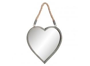 Zrcadlo ve tvaru srdce zavěšené na lanu - 27*3*29 cm