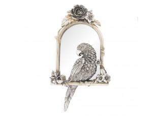 Zrcadlo v rámu s papouškem a květinami  - 25*4*45 cm