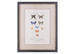 Obraz v dřevěném rámu s motýly - 38*2*48 cm
