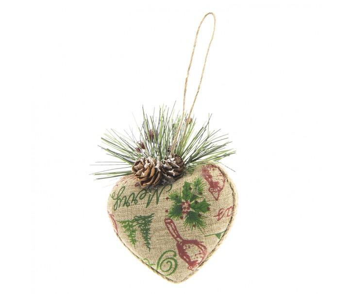 Závěsné vánoční srdíčko z juty - 9*5*10 cm
