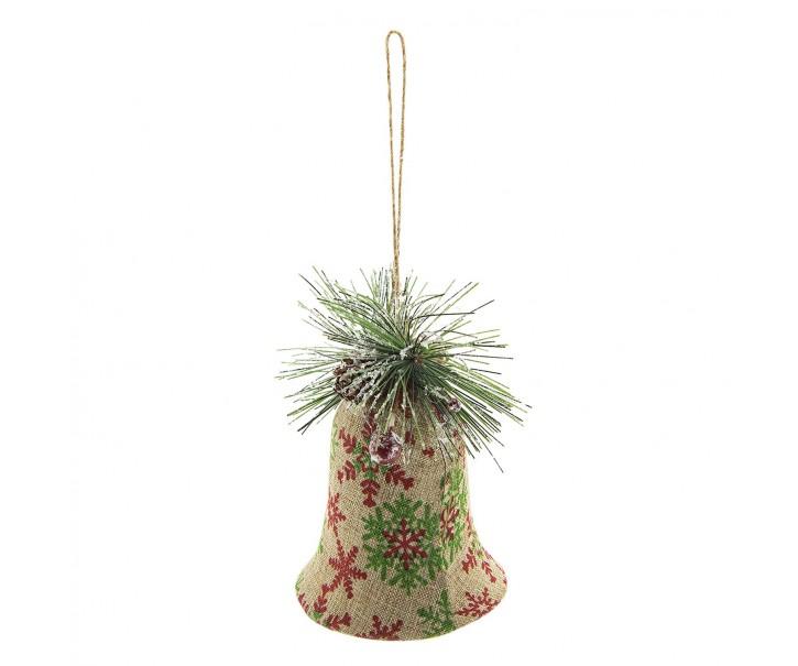 Vánoční jutový zvonek k zavěšení - 10*8*11 cm