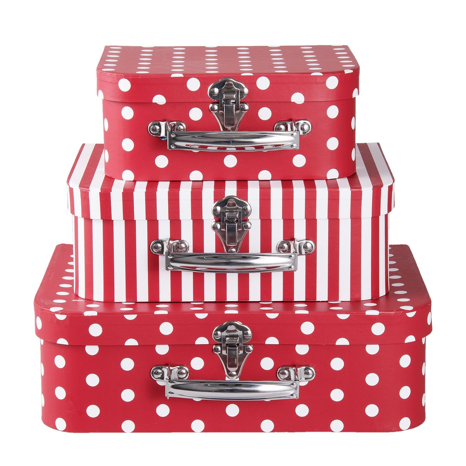 Clayre & Eef Červené papírové kufříky s puntíky 3ks - 30*22*9 cm /25*20*9 cm /20*17*8 cm