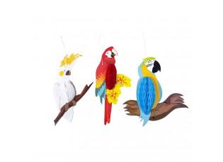 Papírová dekorace Papoušek - 24*9 cm