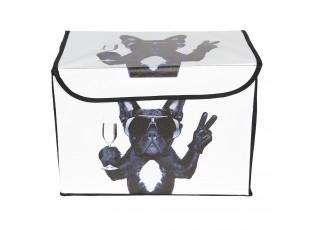 Bílo černý úložný box se psem s brýlemi a sklenkou sektu - 33*23*23 cm