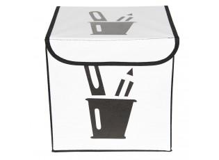Látkový černo bílý úložný box - 25*25*25 cm