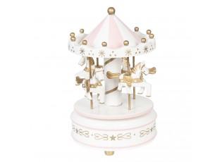 Bílo-růžový hrací kolotoč - Ø 11*19 cm