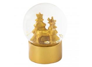 Sněžítko se zlatým jelenem a vánočními stromky - Ø 8*11 cm
