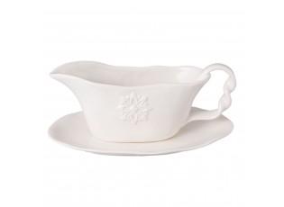 Krémová miska na omáčku s talířkem Amata - 23*15*10 cm / 0,3L