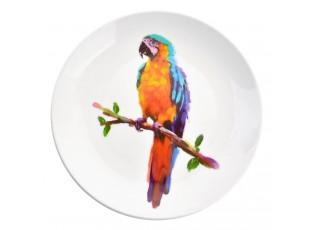 Keramický talíř s papouškem Ara Exotic World – Ø 20*2 cm