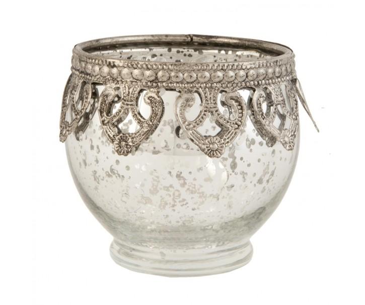 Stříbrný skleněný svícen na čajovou svíčku ∅ 10*9