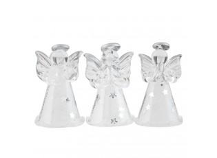 Set 6ks závěsný skleněný anděl - Ø 3*4 cm