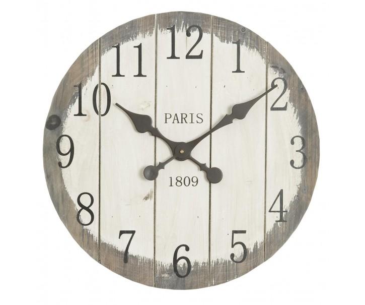 Dřevěné nástěnné hodiny Paris - Ø 50*4 cm / 1xAA