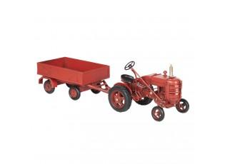 Retro kovový model červený traktor - 17*10*12 cm / 23*10*8 cm
