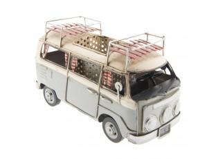 Retro kovový model VW šedý autobus - 19*10*12 cm