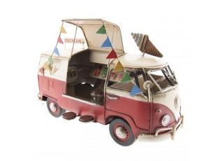 Retro kovový model VW červený autobus - 27*15*17 cm