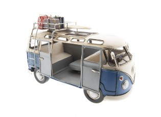 Retro kovový model VW modrý autobus -  27*12*17 cm