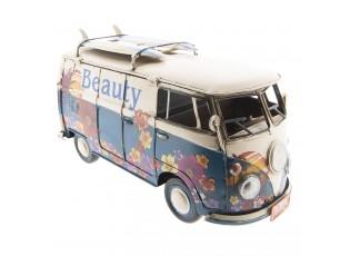 Retro kovový model VW modrý hippie autobus -  32*13*18 cm