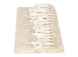 Béžovo-krémový bavlněný pléd s třásněmi - 125*150 cm