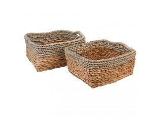 Sada 2 pletených košíků z listů - 28*28*14/24*24*12 cm