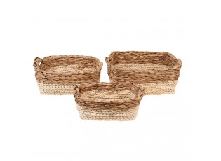 Sada 3 pletených košíků z listů - 30*22*12/28*19*11/25*16*8 cm