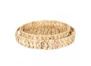 Sada 3 pletených košíků/ podnosů z listů - Ø35*5/Ø30*4 cm