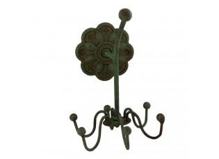 Zelený nástěnný kovový věšák s háčky  - 9*11*13 cm