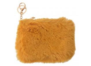 Žlutá chlupatá peněženka / klíčenka - 15*10 cm
