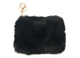Černá chlupatá peněženka / klíčenka - 15*10 cm