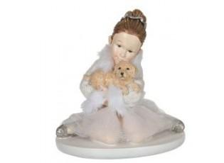 Sedící baletka s pejskem - 9*7*9 cm