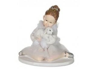 Sedící baletka s králíčkem - 9*7*9 cm