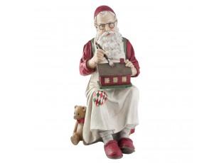 Dekorace Santa malující chaloupku - 27*32*48 cm