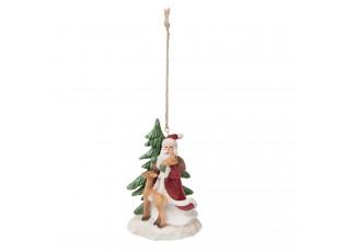 Vánoční ozdoba Santa se zvířátky - 7*6*10 cm