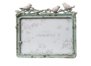 Kovový vintage rámeček s ptáčky - 14*2*12 cm / 13*9 cm