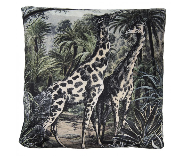 Černý sametový polštář s výplní Giraffes - 45*45cm