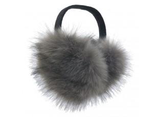 Šedé chlupaté klapky na uši - Ø 10 cm