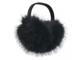 Černé chlupaté klapky na uši - Ø 10 cm