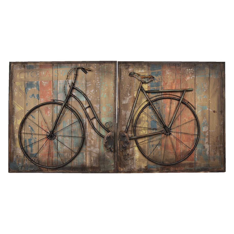 Dřevěno-kovový obraz Bicykl - 120*60*6 cm
