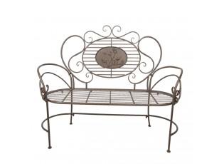 Vintage kovová zahradní lavice Browny - 125*45*106 cm