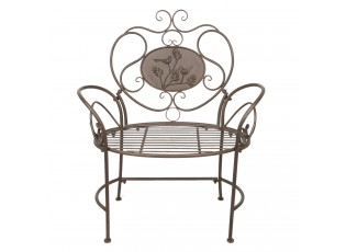 Hnědá kovová zahradní židle / lavička - 78*46*97 cm