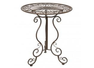 Hnědý kovový zahradní stůl Browny - Ø 56*64 cm
