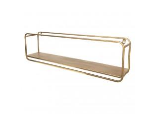 Nástěnná kovová zlatá polička  - 70*13*20 cm